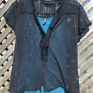 Limited sheer blouse with tank size medium